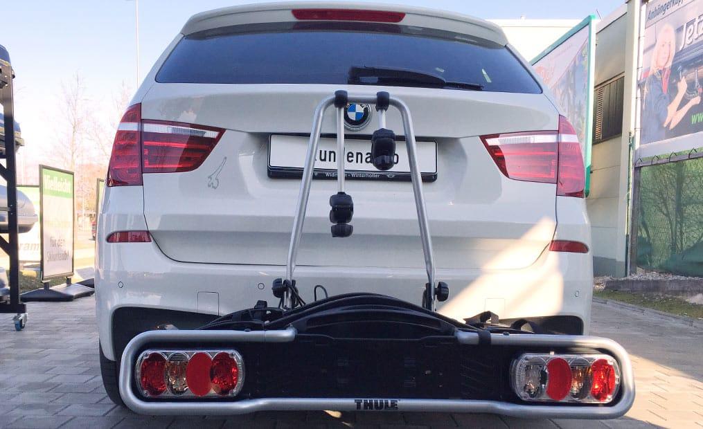 BMW X3 mit Fahrradträger Am Fahrzeugheck