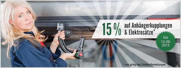 15% auf alle Anhängerkupplungen und Elektrosätze!