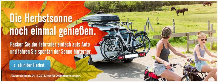 Die Herbstsonne noch einmal genießen. Die fahrräder auf den Fahrradträger gepackt und der Sonne hinterher.