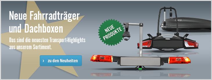 Neue Fahrradträger und Dachboxen - Die neusten Transporthighlights aus unserem Fahrradträger- und Dachbox Sortiment.