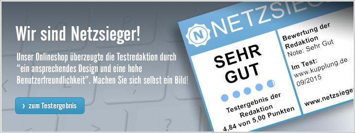 """Testurteil """"sehr gut"""" bei Netzsieger.de"""